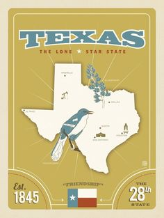 State Pride Print: Texas - Show your Texas pride with this stately print. Boasting the Lone Star States flag, bird, flower, and map, this print shows off a few reasons why Texas is such a great state! Texas State Map, Texas Pride, Texas Maps, National Park Posters, Lone Star State, Map Design, Graphic Design, Vintage Travel Posters, Poster Vintage