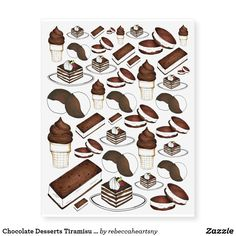 Shop Chocolate Desserts Tiramisu Ice Cream Food Tattoos created by rebeccaheartsny. Candy Tattoo, Food Tattoos, Temporary Tattoo Designs, Baby Oil, Body Modifications, Chocolate Desserts, Tiramisu, Sensitive Skin, Cleaning Wipes