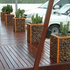 What about the gabion stone fence? I've always loved the look of gabion walls – the subtle variation in stone colour, the texture of different rock fillings and the light and shade of stone and crevice. Gabion Stone, Gabion Retaining Wall, Stone Fence, Fence Design, Garden Design, Trellis Design, Lattice Design, Balkon Design, Outdoor Living