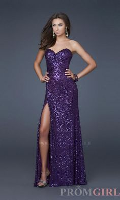 La Femme Long Sequin Prom Dress, Sequin Evening Gowns- PromGirl
