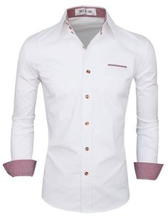 Tom's Ware Mens Premium Casual Inner Contrast Dress Shirt at Amazon Men's Clothing store: Button Down Shirts
