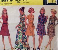 MOD 70's Front Wrap Dress, McCall's 2544, Size 14 Petite, UNCUT