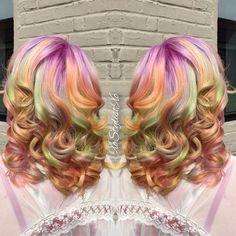 Rainbow curls: lavender, green,yellow, orange