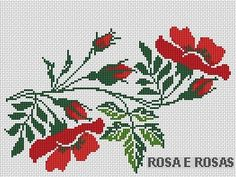 Flores centro mantel Beaded Cross Stitch, Cross Stitch Borders, Cross Stitch Rose, Modern Cross Stitch Patterns, Cross Stitch Flowers, Cross Stitch Designs, Embroidery Patterns Free, Diy Embroidery, Cross Stitch Embroidery