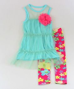 Look what I found on #zulily! Turquoise Sheer Layered Tunic & Floral Leggings - Girls by Mia Belle Baby #zulilyfinds