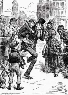 Bob Cratchit carries Tiny Tim in this illustration from the 1843 Charles Dickens novel A Christmas Carol.