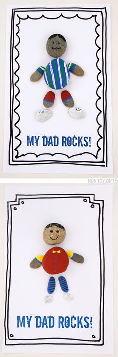 Make a DAD ROCKS card with kids using rounded stones. Dad will love his personal. - Make a DAD ROCKS card with kids using rounded stones. Dad will love his personalized gift! Easy and fun Fathers Day craft. Free printable available. Non Toy Gifts, Diy Gifts, Diy For Kids, Crafts For Kids, Dad Rocks, Daddy Day, Creation Deco, Father's Day Diy, Fathers Day Crafts