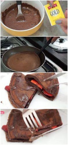Crepioca de Chocolate #chocolate #morango #receita #gastronomia #culinaria #comida #delicia #receitafacil