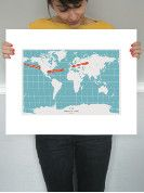 """50% of the proceeds got to Every Mother Counts during June AND you can personalize this """"You Are Here"""" print. Ours points out where our daughter might travel when she grows up and heads out with her SLR and notepad."""