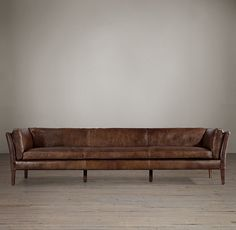 Sorensen Leather Sofas, Restoration Hardware, 14 color options, 2 depths and 5 length options. I like the thin lines, tailoring, simplicity.