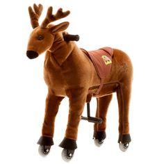 """Der Animal-Riding Elch """"Rudi"""" ist ein gesundes Bewegungsgerät, welches viel Spiel und Spaß für Kinder bietet. Es zeichnet sich durch einen weichen Plüschkörper und ein innovatives Antriebssystem mit Lenkung, Haltegriffen, Fuß-Stützen und Kunststoff-Rädern aus. Die Tiere sind in 3 Größen (klein, mittel, groß) erhältlich."""