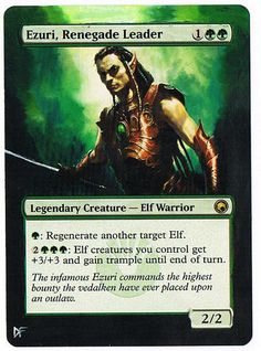 MTG Altered Painted Ezuri, Renegade Leader Scars of Mirrodin #WizardsoftheCoast