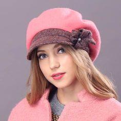 Winter wool beret hat for women flower newsboy cap