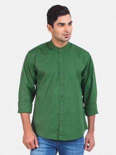 Regular Fit Casual Cotton Green Solid Shirt With Mandarin Collar - Full Sleeves - To amplify your charm and give you a casual look with a hint of elegance, we have designed this solid green shirt that is comfortable and smart.  Green solid casual shirt.  Full sleeves with buttoned cuffs.  Full-buttoned placket.  Branding on the left side of the chest.  Mandarin collar with contrast striped inner band.  Self back yoke and curved hemline.