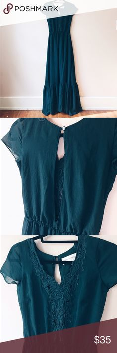 UrbanOutfitters green dress. Never worn. Dark green dress with delicate details on the front. Urban Outfitters Dresses Maxi