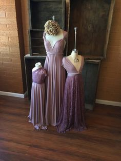 $100 and under Bridesmaids Dresses. Swan Lake Heather Satin Long Lace and Satin Octopus Infinity Dresses by Coralie Beatrix.