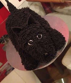 Hand carved scottie dog cake I made for my mummy in law :-) she was just a little excited ;-)