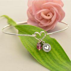 heart charm, heart bracelet, bangle bracelet, charm bracelet, valentine jewelry, bracelet design