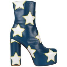 Vetements Star appliqué leather platform boots (€2.075) ❤ liked on Polyvore featuring shoes, boots, ankle booties, blue, platform ankle booties, blue bootie, leather ankle boots, leather ankle booties and block heel booties
