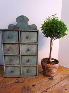 19th. century Robin's Egg Blue Spice Cabinet......~♥~