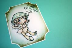 Hi, today I – Anna Maria – want to share my way to do backgrounds to my stamped images. I hope you understand what I write or at least get the trick by looking at these pictures.  I colored up the cute Mushroom Fairy with Copics. Then I choose a die to cut out the image.  And then I tape the die to the paper so it stays in place when I roll it in my die cutting machine.  When it's cut I tape the backside too, because I want to make sure it's still when I use the die as aRead More →