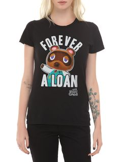 """Fitted black tee from Animal Crossing: New Leaf with """"Forever A Loan"""" design on front."""