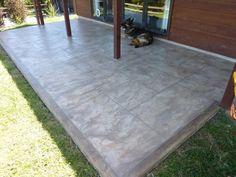 Resurfaced concrete patio with border Concrete Staining, Concrete Resurfacing, Stained Concrete, Concrete Patio, Concrete Floors, Outdoor Fun, Outdoor Ideas, Outdoor Decor, Outdoor Kitchens
