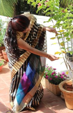 Pure raw silks with stripes