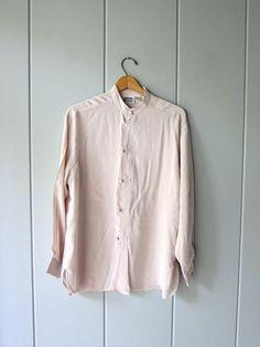 2752ed09 Minimal Silk Blouse Buff Beige Slouchy Blouse Kimono Buttons Denim Button Up,  Button Up Shirts