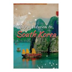 Vintage South Korea Travel Poster Would love this framed