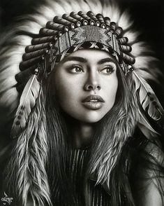 art sharing page 🎨 ( Indian Girl Tattoos, Native American Headdress, Native American Girls, Drawing Expressions, Face Photography, Z Arts, Gourd Art, Native Indian, Light Art