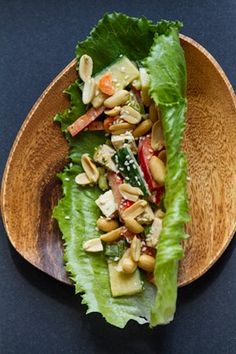 Lettuce wraps with spicy peanut lime sauce