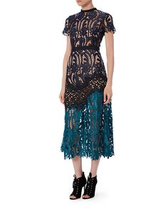 Self-Portrait Tri-Tone Midi Lace Dress