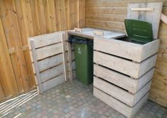Covered Recycle Bins Made From Pallets --- #pallets