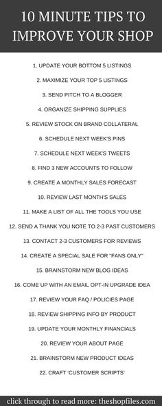 Tips to Improve your Online Shop - easy checklist of ideas you can do in 10 minutes to improve your shop and increase sales How to Increase Sales for Online Shop or Etsy