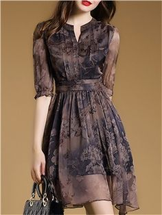 Floral Imprint Chiffon Short Day Dress