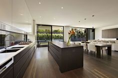 Elegant Sustainable House Design for Intriguing Project: Stylist Kitchen White And Darkwood Cabinet Sustainable Malvern House Interior Home Decor Kitchen, Kitchen Living, New Kitchen, Kitchen Interior, Home Interior Design, Home Kitchens, Kitchen Island, Long Kitchen, Kitchen Ideas