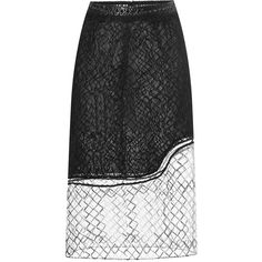 Jonathan Simkhai Wire Lace Pencil Skirt ($1,295) ❤ liked on Polyvore featuring skirts, high waisted pencil skirt, high waisted skirts, high-waisted pencil skirts, white knee length pencil skirt and see-through skirts