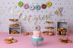 2nd Birthday Party Themes, Donut Birthday Parties, Birthday Brunch, Donut Party, Birthday Design, Birthday Ideas, Birthday Girl Pictures, First Birthday Photos, Half Birthday