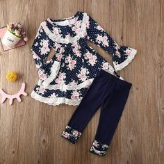 Toddler Girl Lace Ruffle Dress Top Long Flare Sleeve Floral Blouse Leggings Pants for Girls, Floral Leggings, Dresses With Leggings, Leggings Are Not Pants, Floral Blouse, Floral Lace, Floral Tops, Lace Ruffle, Ruffle Dress, Baby Girl Pajamas