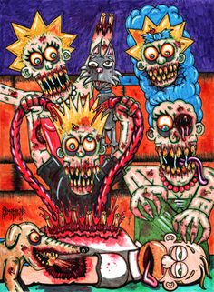 I did this painting back in 2011 of the Simpsons as zombies. I called it The Simpsons UnDOHed. I put out a parody book of a bunch of American icons as zombies and it was called Dr. Twistid's Morgue Meat. I think I only have one copy left but anyway this was part of that series. I finally put the originals up for sale and this one sold today. I'm sad to see it go but glad someone liked it enough to buy it. I truly appreciate all the support I get from my fans. If your reading this then I…
