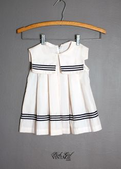1960's Girls White & Navy Sailor Dress with Collar VINTAGE CLOTHING FOR CHILDREN, BABIES, kids, boys & Girls :