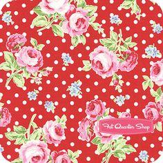 Flower Sugar Red and Blue on Red Rose Dots Yardage SKU# 30747L-31 - Fat Quarter Shop