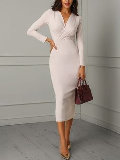 Ruched Wrapped Long Sleeve Bodycon Dress dresses for work Ruched Wrapped Long Sleeve Bodycon Dress Elegant Dresses, Sexy Dresses, Fashion Dresses, Dresses For Work, Midi Dresses, Fashion Clothes, Office Dresses For Women, Corset Dresses, Bodycon Fashion