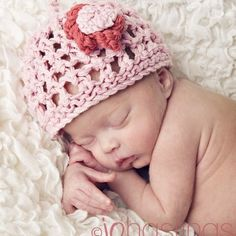 baby hats  -  'pretty lace flower'