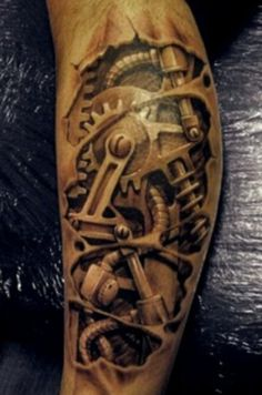 Awesome Mechanical Tattoo...for guys of course #tattoo #bio #mech #mechanical #steampunk #tattoos #tattoos_for_guys