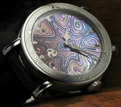 Gustafsson & Sjogren Winter Nights Watch - Damascus steel case, dial, crown, and movement plate.