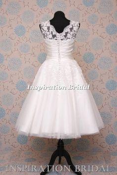 beautiful 1555 short  Tea Length lace short wedding dress 50s 60s  justin 8706
