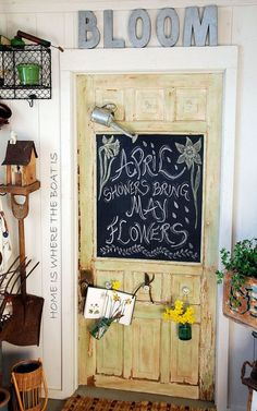 Replace a broken potting shed window with a very cute chalkboard.