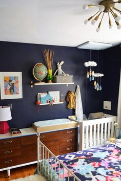 Nursery nook in the master bedroom in Jesyka's Room for Four (baby shelves small nurseries)